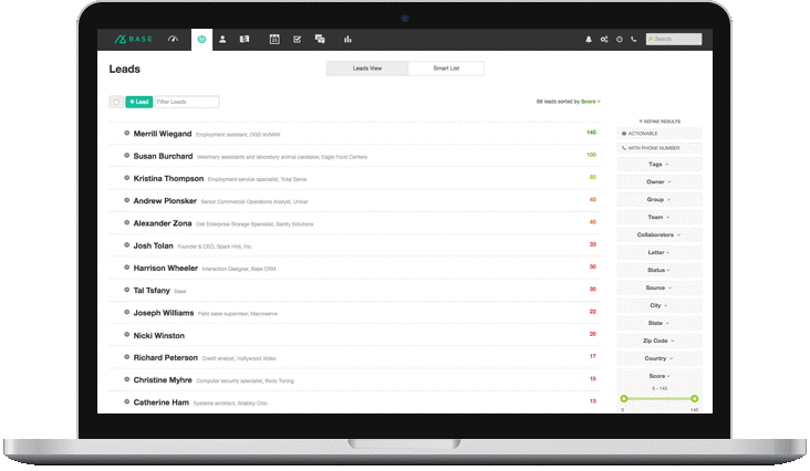 Example of CRM automated lead scoring in base crm