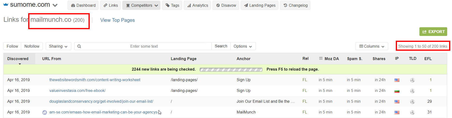 check competitor backlinks