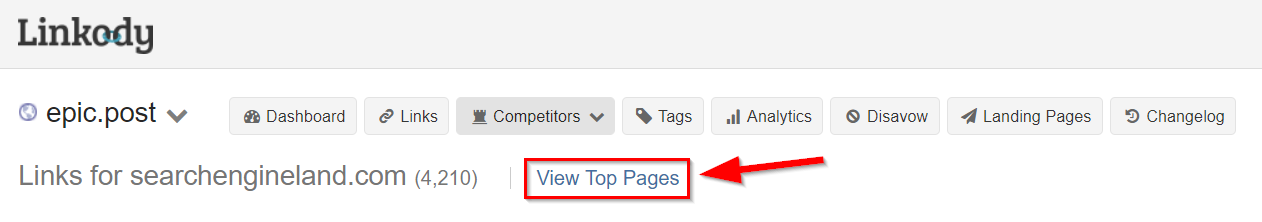 View top competitor pages