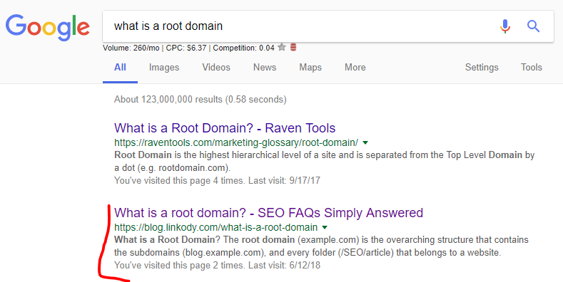 what's a root domain