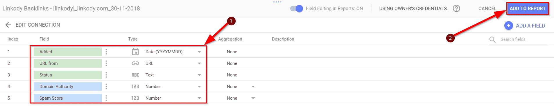 Connect Linkody data to Google Data Studio2