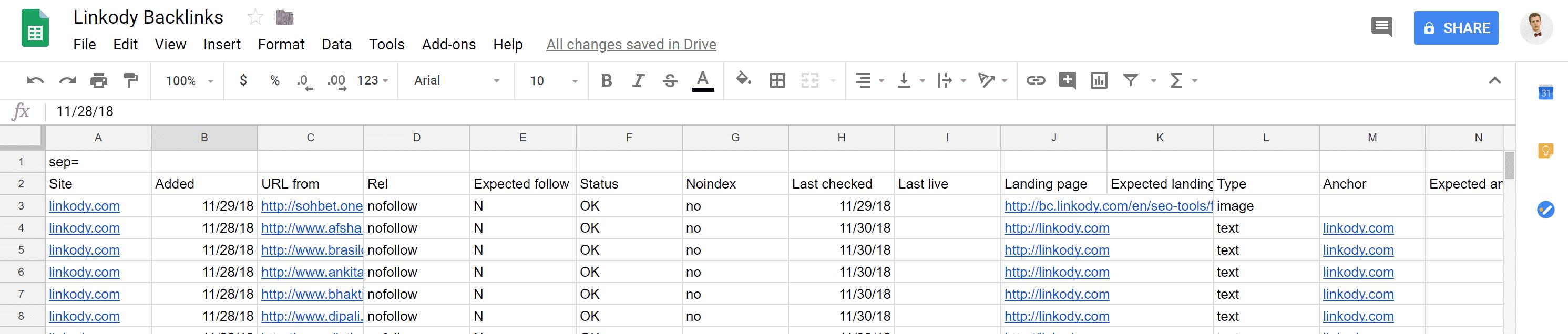 Linkody backlinks in Google Sheet