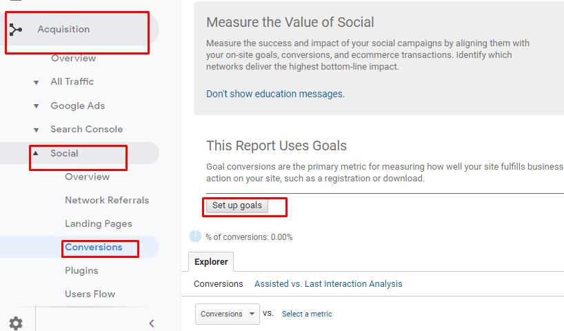 Set up analytics goals