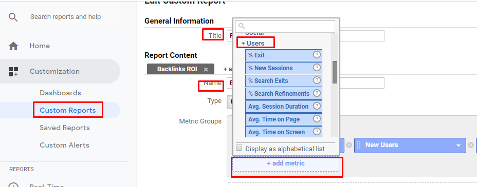 Custom Analytics Reports To Track ROI
