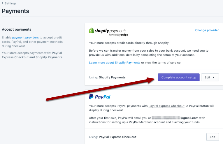 How to setup a shopify store - Choosing payments