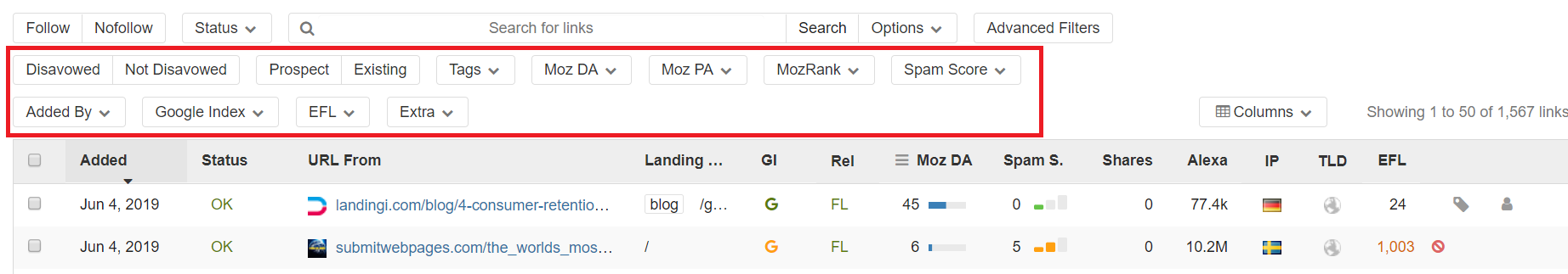 different filtering options for SEO backlinks