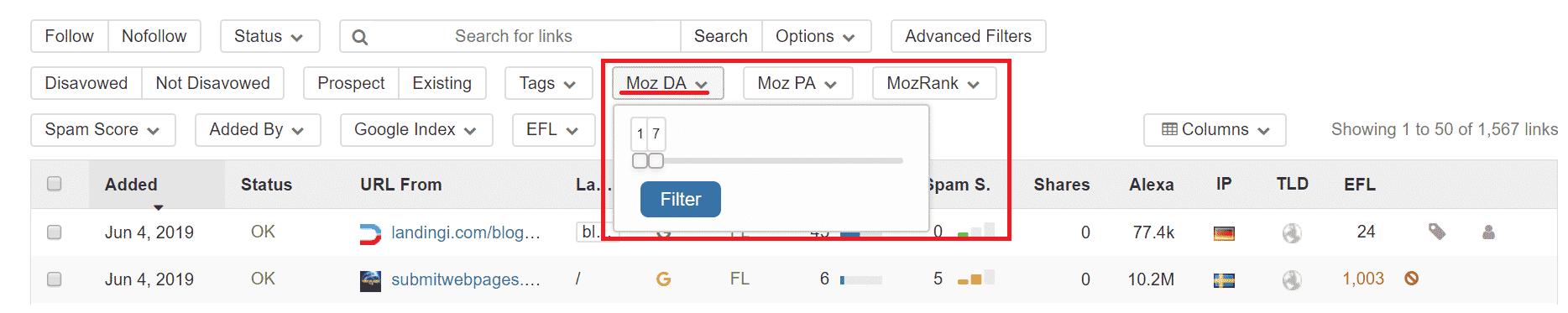 choosing moz rank DA -seo backlinks