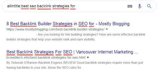 allintitle for backlinks