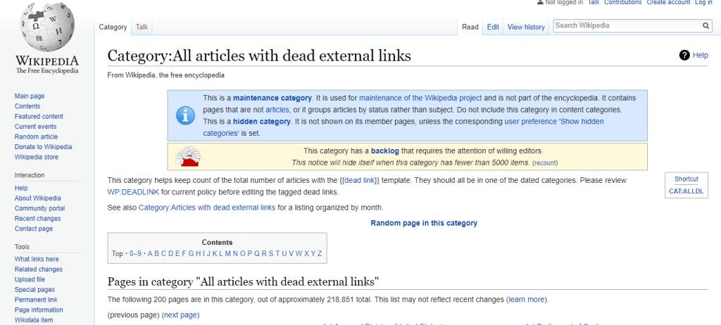 Dead external links on Wikipedia