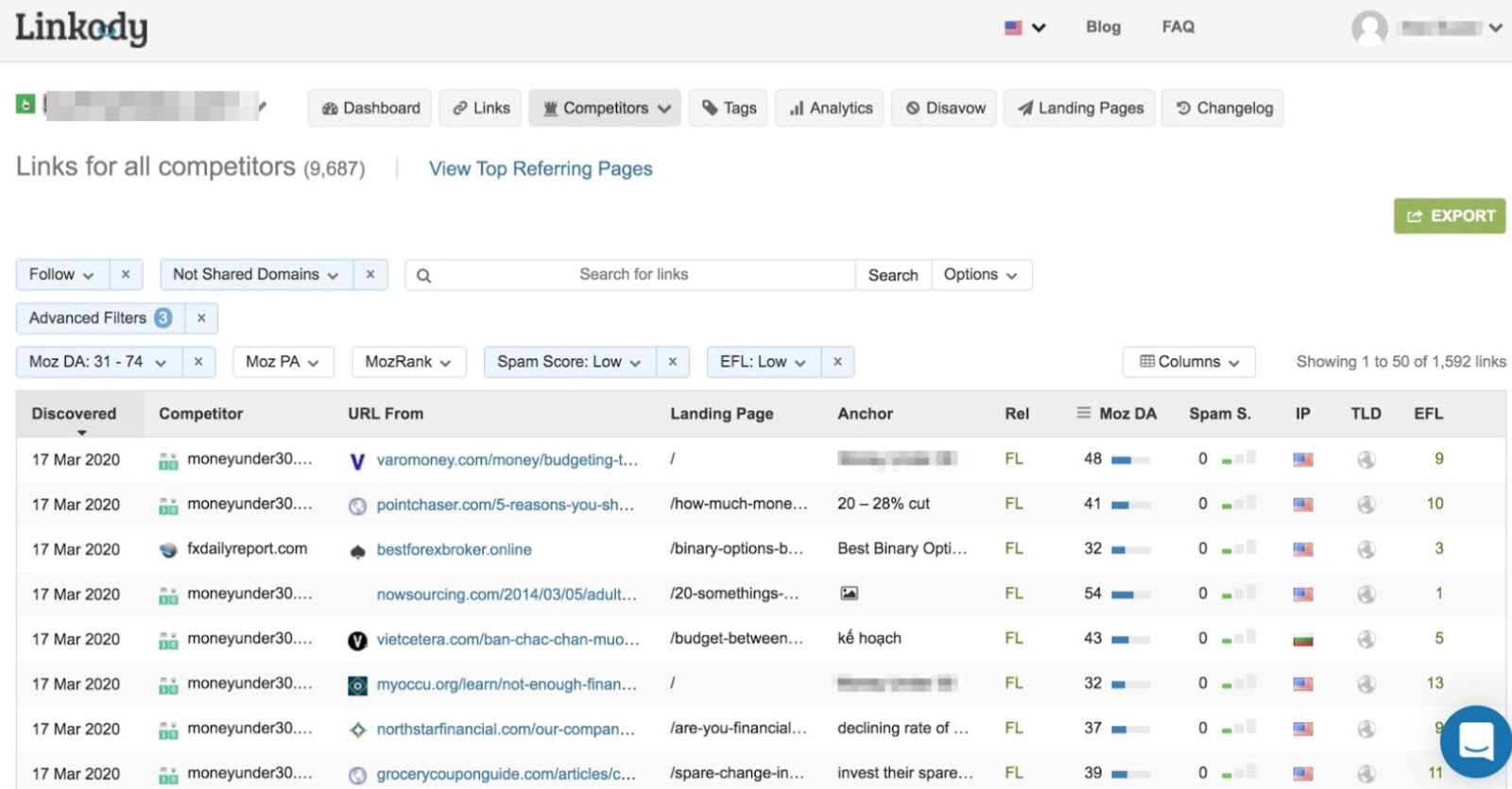 Backlinks from competitor